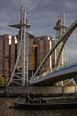 Salford Quays with barge. Fine Art Landscape Photography by Gary Waidson