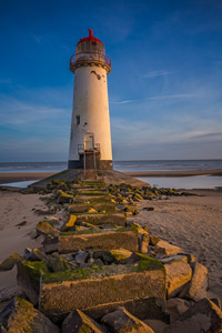 Lighthouse on Talacre Beach. Clwyd.